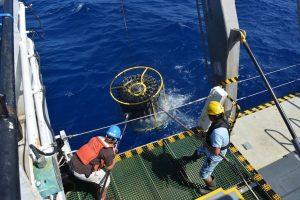 the CTD is retrieved from the stern of the research vessel Atlantic Explorer